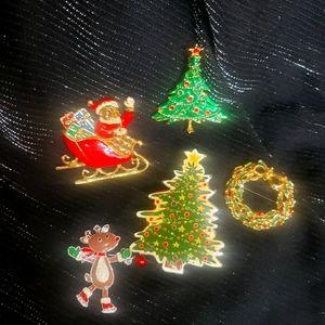 Santa christmas pin/brooch lot